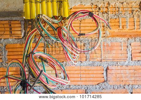 Different Colored Cables For Power Outlet Installation In Construction Site