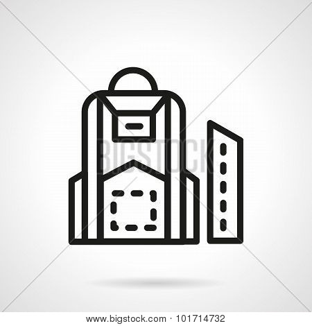 Black line school backpack vector icon.