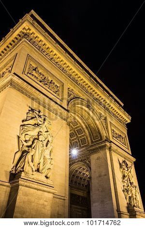 The Triumphal Arch At Night, Paris, France