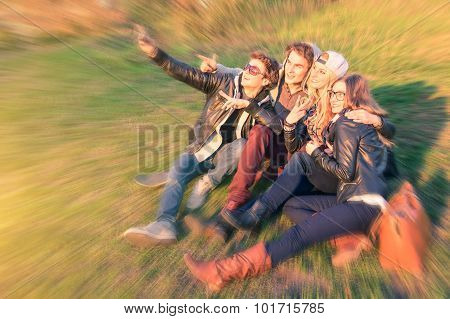 Group Of Young Hipster Best Friends Taking A Selfie At Mauerpark In Berlin - Concept Of Friendship