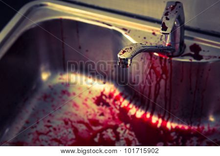 Kitchen sink  with blood for halloween ( Filtered image processed vintage effect. )