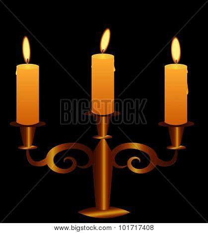 Bronze Candlestick With Lightening Candles. Vector.