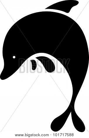 Black Dolphin Symbol - Vector Illustration