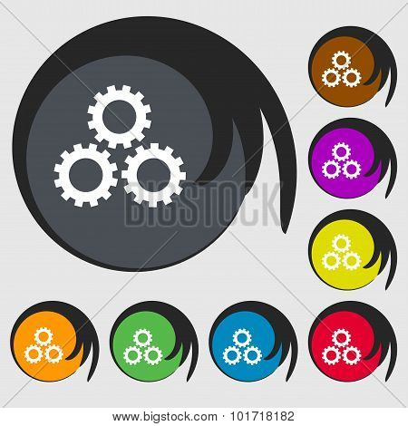 Cog Settings Sign Icon. Cogwheel Gear Mechanism Symbol. Symbols On Eight Colored Buttons. Vector