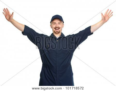 Happy car mechanic isolated on white background.