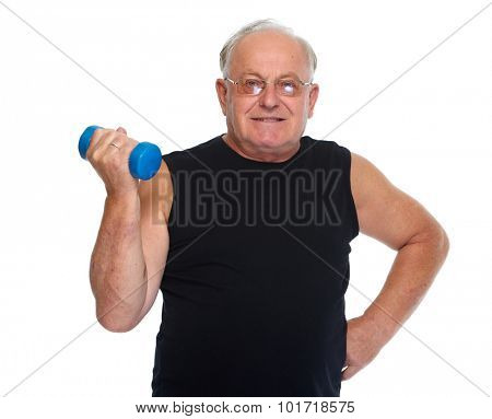 Senior man with dumbbell. Health and fitness concept.