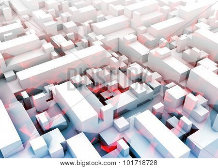 Abstract Digital White 3D Cityscape, Red Pattern