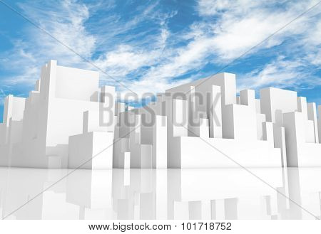 Abstract White Schematic 3D Cityscape With Sky