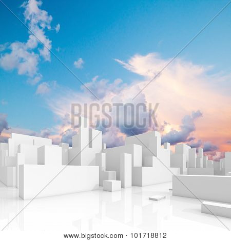 Abstract White Schematic 3D Cityscape, Square