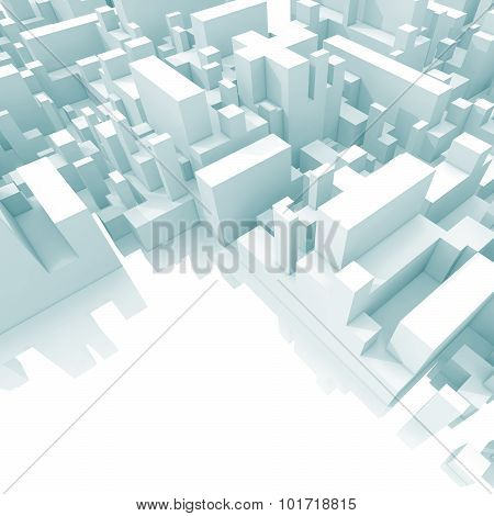 Abstract Schematic Light Blue 3D Cityscape