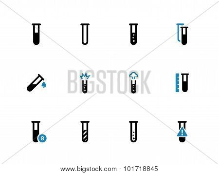 Chemical test tube duotone icons on white background.