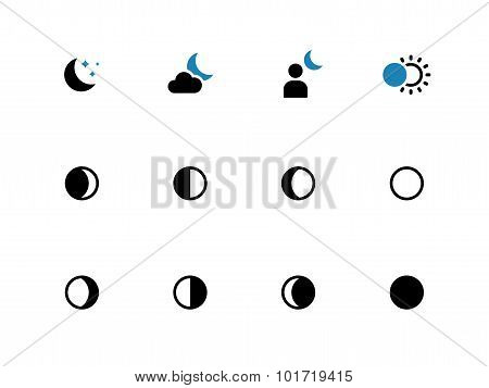 Phases of the moon duotone icons on white background.