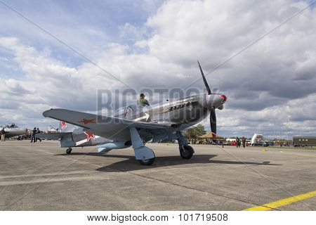 World War II Soviet Fighter Yakovlev Yak-3 On Runway At The Ciaf - Czech International Air Fest On S