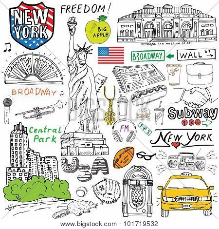 New York City Doodles Elements. Hand Drawn Set With, Taxi, Coffee, Hotdog, Statue Of Liberty, Broadw