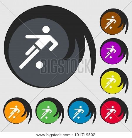 Football Player Icon. Symbols On Eight Colored Buttons. Vector