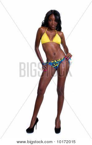 Africano-americanos em biquíni sensual