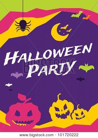 Halloween vector background. Pumpkin head, zoombie hand, halloween symbols. Black and red halloween colors, halloween silhouette for halloween party flyer design. Halloween night background, ghost