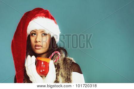 Winter Girl Santa Helper Hat Holds Red Mug