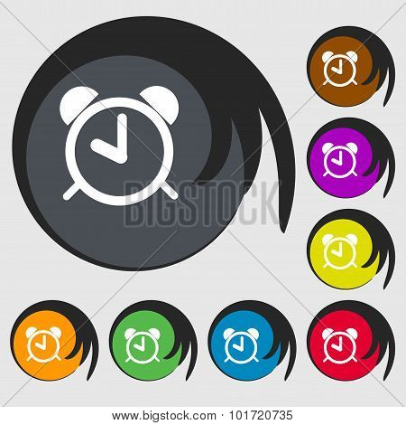 Alarm Clock Sign Icon. Wake Up Alarm Symbol. Symbols On Eight Colored Buttons. Vector