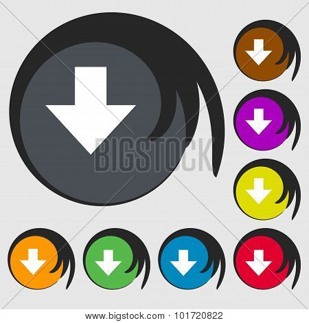 Download Sign. Downloading Flat Icon. Load Label. Symbols On Eight Colored Buttons. Vector
