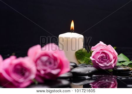 Still life with pink rose with candle and therapy stones
