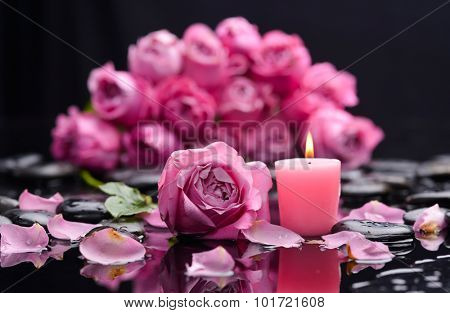 Still life with pink rose ,petals with pink candle and therapy stones