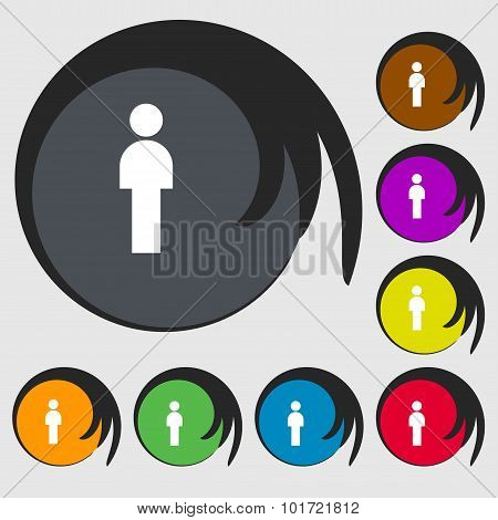 Human Sign Icon. Man Person Symbol. Male Toilet. Symbols On Eight Colored Buttons. Vector