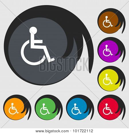 Disabled Sign Icon. Human On Wheelchair Symbol. Handicapped Invalid Sign. Symbols On Eight Colored B