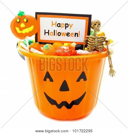 Halloween pail with Happy Halloween card