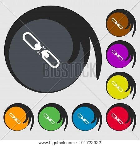 Broken Connection Flat Single Icon. Symbols On Eight Colored Buttons. Vector