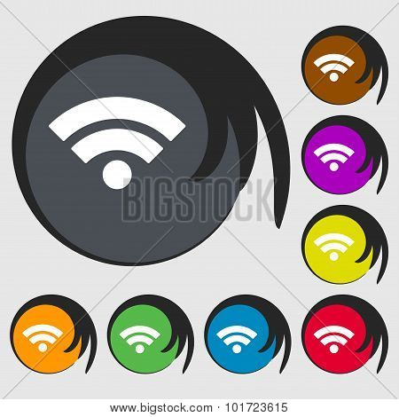 Wifi Sign. Wi-fi Symbol. Wireless Network Icon. Wifi Zone. Symbols On Eight Colored Buttons. Vector