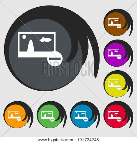 Minus File Jpg Sign Icon. Download Image File Symbol. Set Colourful Buttons. Symbols On Eight Colore