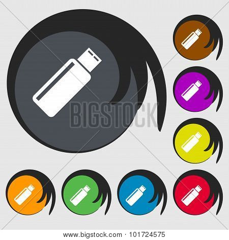 Usb Sign Icon. Flash Drive Stick Symbol. Symbols On Eight Colored Buttons. Vector