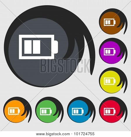 Battery Half Level Sign Icon. Low Electricity Symbol. Symbols On Eight Colored Buttons. Vector