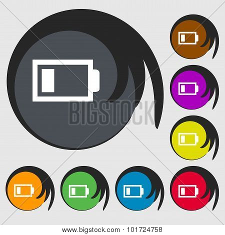 Battery Low Level Sign Icon. Electricity Symbol. Symbols On Eight Colored Buttons. Vector