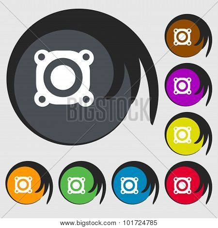 Speaker Volume Sign Icon. Sound Symbol. Symbols On Eight Colored Buttons. Vector