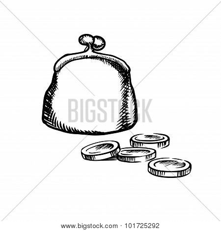 Big purse with coins, sketch icon