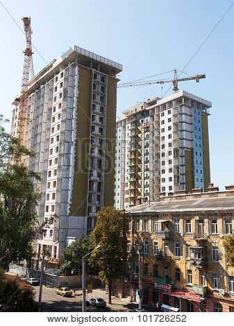 Odessa - September 12: Facade Thermal Insulation Works With Stopping And Fillers During The Construc