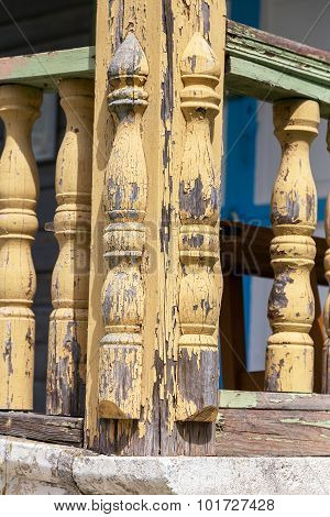 The Old Carved Balusters On Wooden Staircase In The Countryside