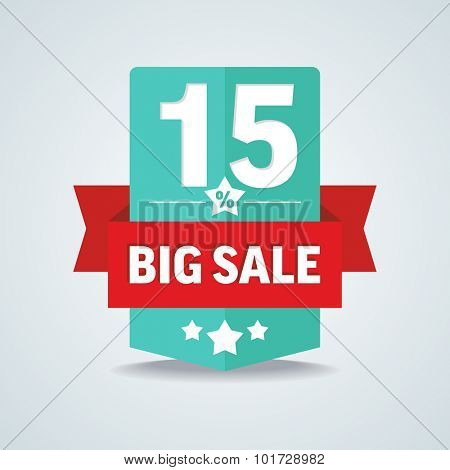 Big sale 15 percent badge with red ribbon. Vector illustration.