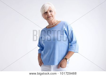 Beauty Portrait Of Elegant Senior Woman.