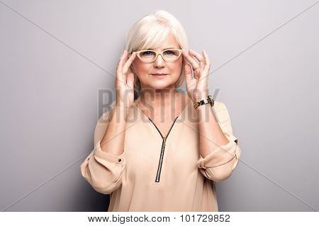 Portrait Of Senior Woman In Eyeglasses.