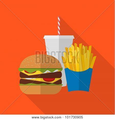 Lunch French Fries, Burger And Soda Takeaway. Flat Design. Fizzy Drink, Hot Dog, Cheeseburger, Hambu