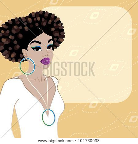 Orange background with dark-skinned woman