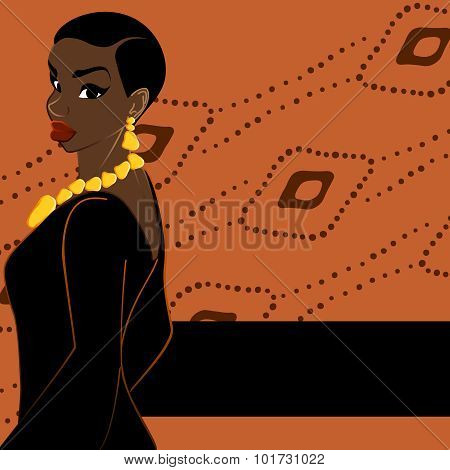 Orange banner with dark-skinned woman
