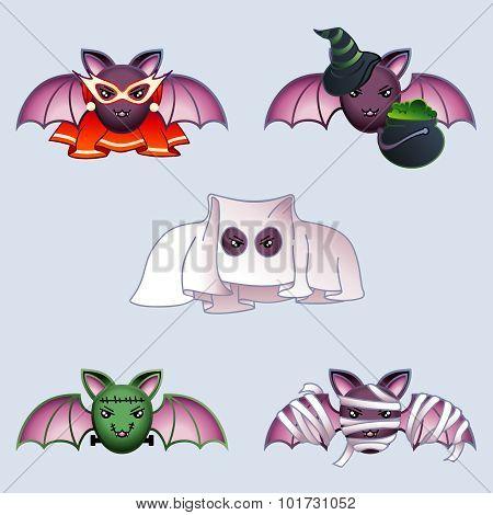 Cartoon bats in Halloween costumes
