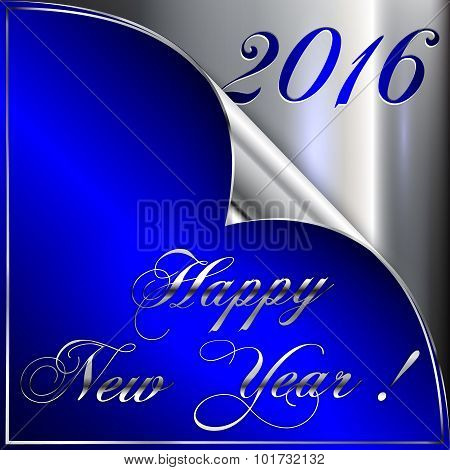 Vector illustration of 2016 new year silver and dark blue greeting with curled corner