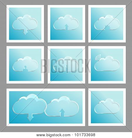 Set with cloud icons