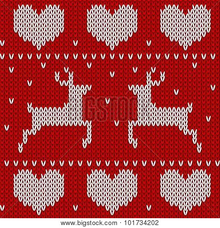 Red Knitted Deers Sweater In Norwegian Style. Knitted Scandinavian Ornament. Vector Seamless Pattern