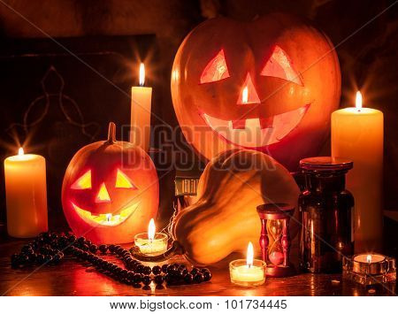 Still life of Halloween pumpkin lantern. Decoration.
